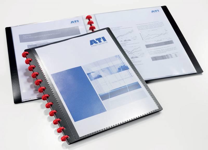 Папка Durable, 20 прозрачных вкладышей, формат А42427-01Папка с 20 прозр.вклад. Durable Duralook Easy Plus 2427-01 карм.на лиц.стор. черный вклад.съемн.