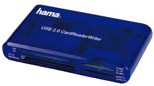 Устройство чтения карт памяти Hama H-55348 USB2.0, 00055348, синий hama hama h 54746