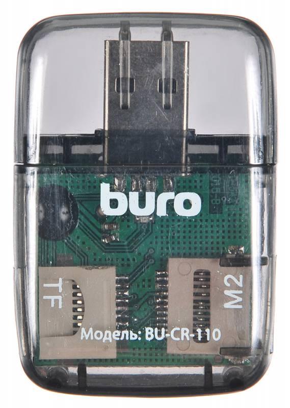 Устройство чтения карт памяти Buro, USB2.0, цвет: прозрачный. устройство чтения карт памяти buro usb3 0 bu cr hub3 u3 0 c004 черный