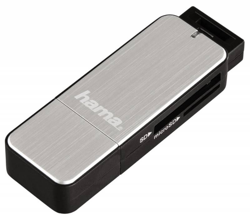 Устройство чтения карт памяти Hama H-123900 USB3.0, 00123900, серебристый подставка hama cd rack h 48402 для 20 сd пластик серебристый