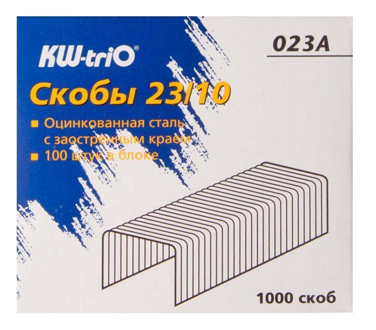 Скобы для степлера 23/10 Kw-Trio 023A, упаковка 1000 шт скобы для степлера 23 15 kw trio 023f упаковка 1000 шт