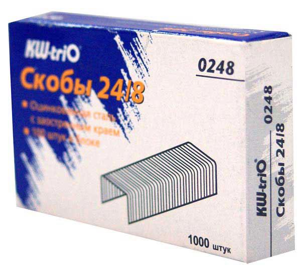 Скобы для степлера Kw-Trio, цвет: хром, 24/8, упаковка 1000шт., 0248 цена