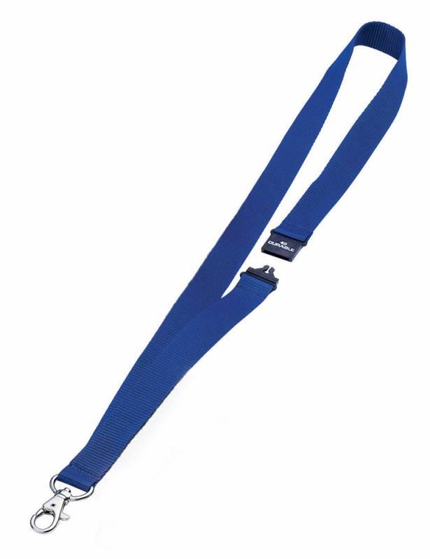 Шнур для бейджа Durable 8137-07, 44х2см ,цвет: темно-синий, 10 шт