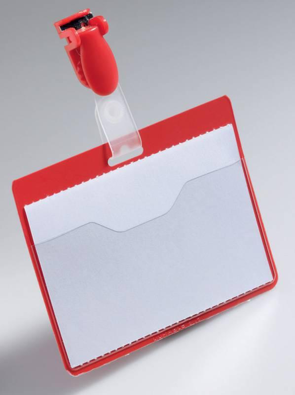 Бейдж Durable 8106-03, 60х90мм, цвет: красный, 25шт