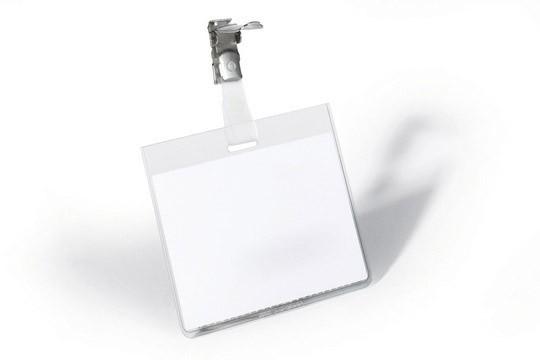 Бейдж Durable 8003-19, 60х90 мм. горизонтальный зажим вращающийся, ПВХ, цвет: прозрачный, упаковка: 25 шт