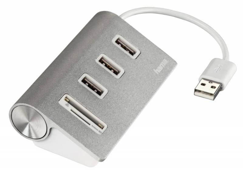 Разветвитель Hama Kombi USB 2.0, 3 порта, цвет серебристый