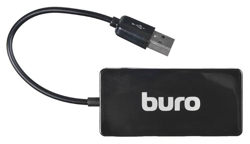 Разветвитель USB 2.0 Buro BU-HUB4-U2.0-Slim 4порт. черный все цены