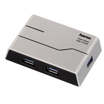 Разветвитель USB 3.0 Hama SuperSpeedActive 4порт. серебристый (00039879)