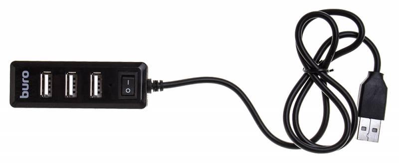 Разветвитель USB 2.0 Buro BU-HUB4-0.5L-U2.0 4порт. черный цена и фото