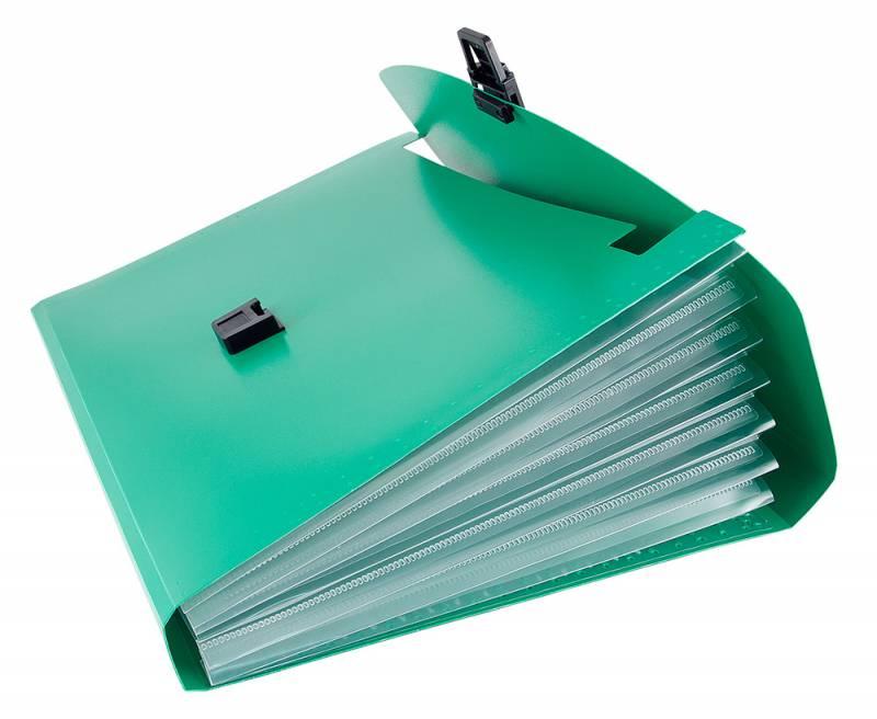 Папка-портфель Бюрократ -BPP13GRN, 13 отделений, A4, зеленый папка портфель бюрократ bpp6lgrn 6 отделений a4 зеленый