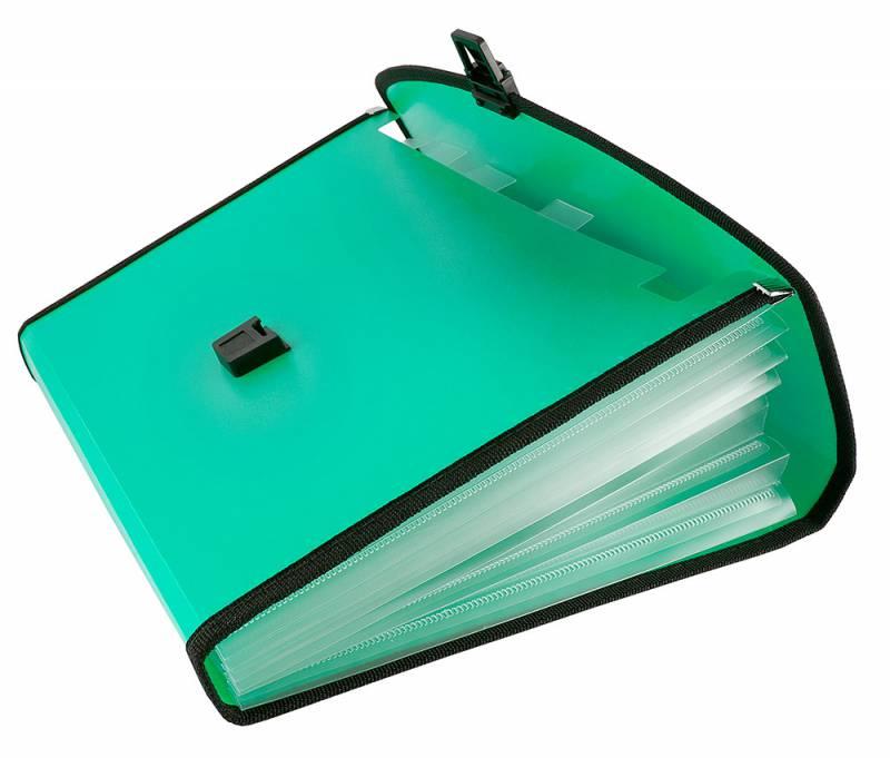 Папка-портфель Бюрократ-BPP13LGRN, 13 отделений, A4, зеленый папка портфель бюрократ bpp6lgrn 6 отделений a4 зеленый