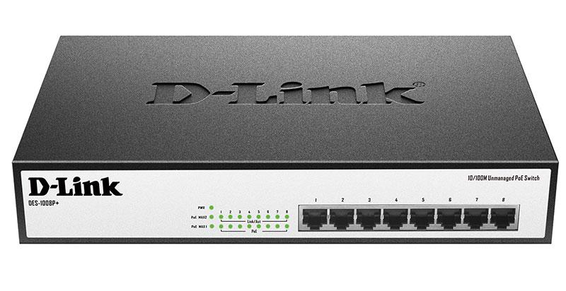 Коммутатор D-Link DES-1008P+/A1A 319825 8x100Mb 8PoE 140W неуправляемый, 319825