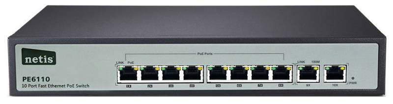 Коммутатор Netis PE6110 10x100Mb 8PoE, неуправляемый, 409027
