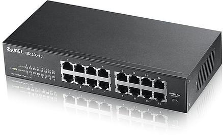 Коммутатор Zyxel GS1100-16 GS1100-16-EU0101F 394141 16G неуправляемый, 394141