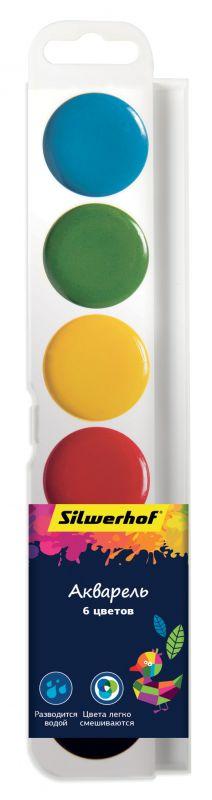 Краски акварельные Silwerhof Цветландия 6 цветов, без кисти, 961131-06 краски гамма юный художник 10 цветов акварельные без кисти пластиковая упаковка