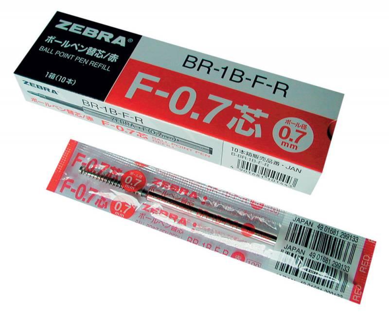 Стержень для шариковых ручек Zebra F (BR-1B-F-BK) 0.7мм черный набор ручек berlingo f 10 автоматических шариковых 4шт синие 0 7мм