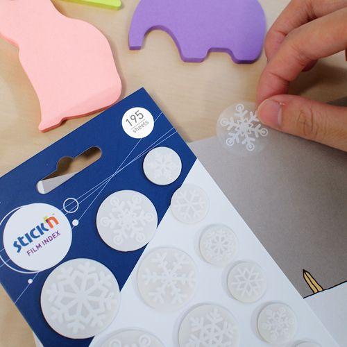 Закладки самокл. индексы пластиковые Stick`n 21764 17х26х32мм 13цв.в упак. 15лист снежинки