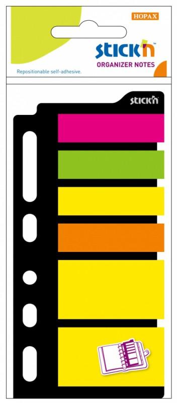 Закладки самоклеящиеся Stick`n 21070, для органайзера, европодвес, 6 цветов в упаковке, 25 листов, 25x45мм+12x45мм
