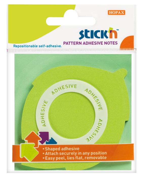 Блок самоклеящийся Stick`n 21543, вырубной клей по периметру листок, европодвес, неон, цвет:зеленый, 70x70мм, 50 листов, 70г/м221543