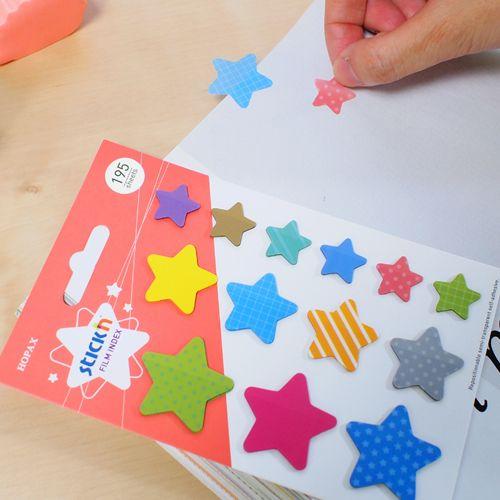 Закладки самоклеящиеся Stick`n, пластиковые, 17х26х32мм, 15 листов, звезды. 21763