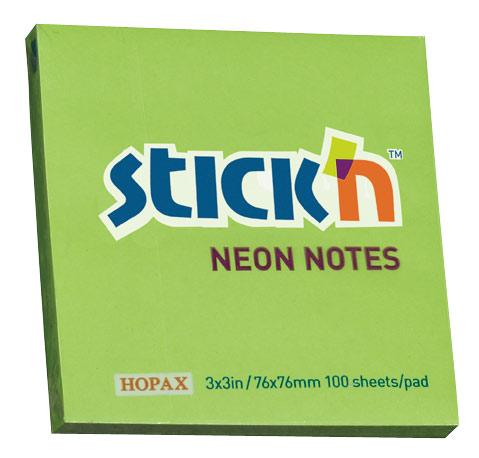 Блок Stick`n 21167 самоклеящийся бумажный 76x76мм, 100лист.Цвет: зеленый блок самоклеящийся бумажный stickn 21497 76x76мм 90лист неон зеленый усиленный клей