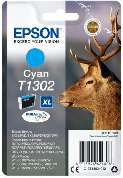 Картридж Epson T1302, голубой, для струйного принтера, оригинал цена