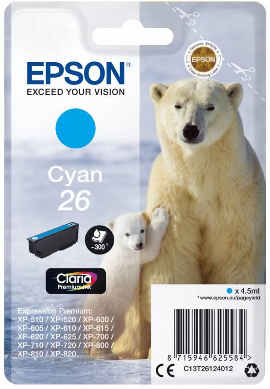 Картридж Epson 26, голубой, для струйного принтера цена