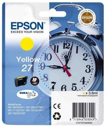 Картридж Epson 27, желтый, для струйного принтера
