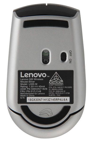 Мышь Lenovo L500-M GX30N71813 оптическая, беспроводная USB, 1049633, серебристый