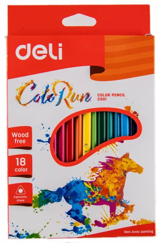 Карандаши цветные Deli ColoRun EC00110, 410862, 18 цветов mattel карандаши цветные enchantimals 18 цветов