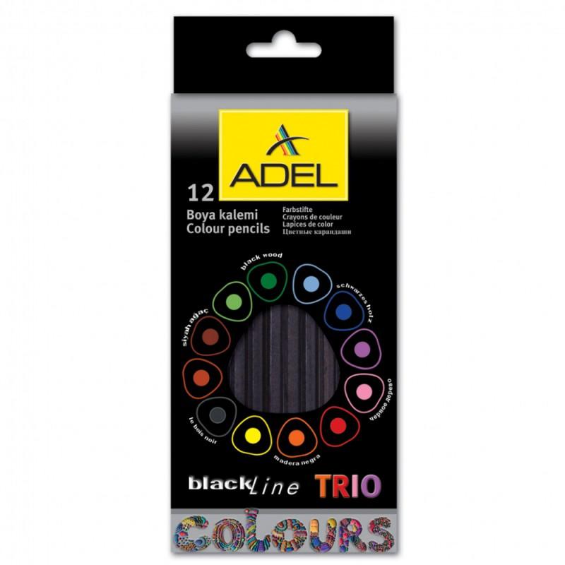 Карандаши цветные Adel Blackline TRIO 211-3316-000 трехгранные черное дерево d=3мм 12цв. коробка/европод. карандаши artberry 12цв
