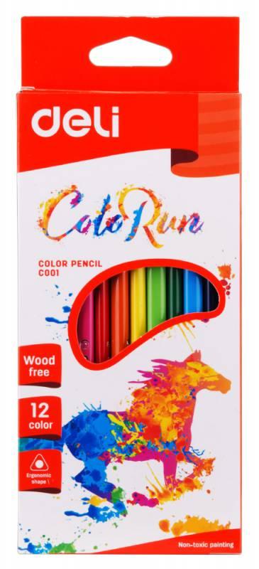 Карандаши цветные Deli ColoRun EC00100 трехгранные пластик 12цв. коробка/европод. карандаши artberry 12цв
