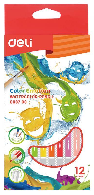 Карандаши цветные акварельные Deli EC00700 Color Emotion липа 12цв. коробка/европод. faber castell карандаши акварельные 12цв 6гр l 175мм d 7мм 114413