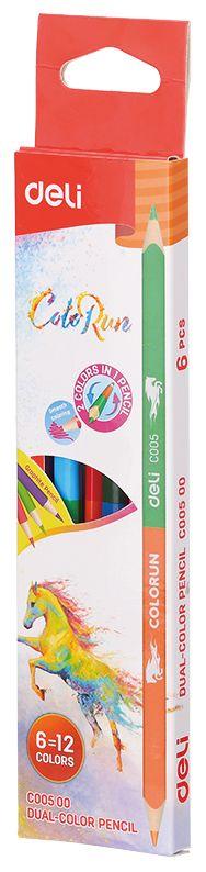 Набор цветных карандашей Deli EC00500 ColoRun, 1027253, 6 шт, 12 цветов