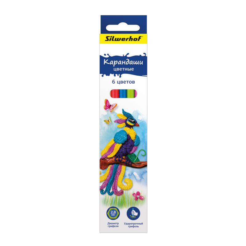 Карандаши цветные Silwerhof 134195-06 Пластилиновая коллекция шестигранные d=2.8мм 6цв. коробка/европод. карандаши цветные silwerhof 134203 06 джинсовая коллекция трехгран 5мм 6цв jumbo коробка европод