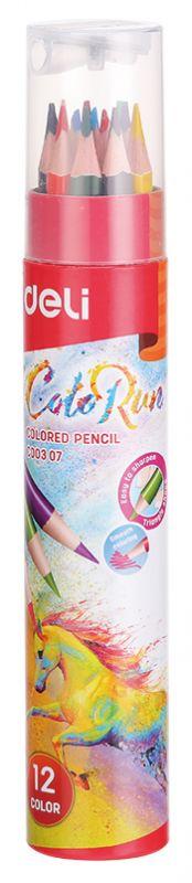 Карандаши цветные Deli EC00307 ColoRun трехгранные тополь 12цв. точилка карт.тубус herlitz цветные карандаши herlitz 12 шт трехгранные