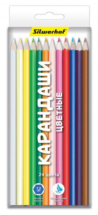 Карандаши цветные Silwerhof Народная коллекция, 24 цвета карандаши цветные silwerhof 134203 06 джинсовая коллекция трехгран 5мм 6цв jumbo коробка европод