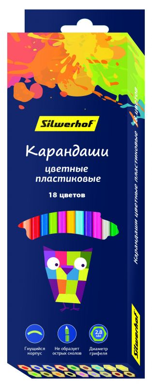 Карандаши цветные Silwerhof 134212-18 Цветландия шестигранные пластик 18цв. коробка/европод. карандаши цветные silwerhof 134203 06 джинсовая коллекция трехгран 5мм 6цв jumbo коробка европод