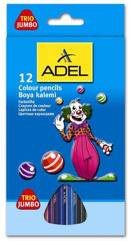Карандаши цветные Adel JUMBO 211-7510-000 трехгранные d=5.4мм 12цв. коробка/европод. карандаши artberry 12цв