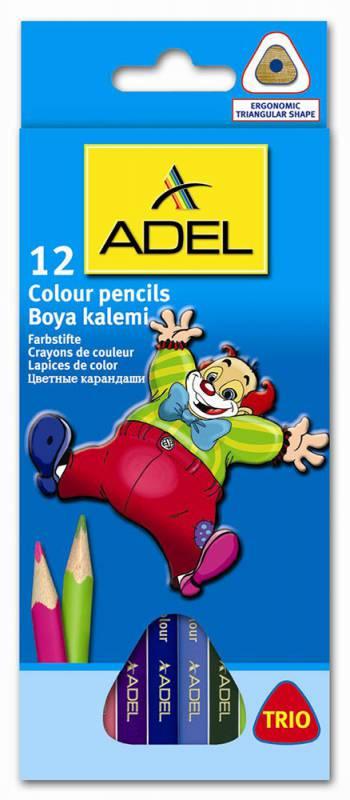 Набор цветных карандашей Adel Colour Trio 211-3315-007, 814011, 12 шт adel adel карандаши цветные colour в алюминиевом тубусе 12 цветов