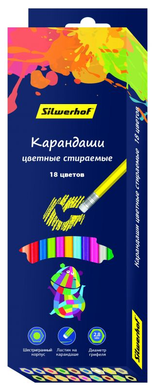 Карандаши цветные Silwerhof 134209-18 Цветландия шестигранные 18цв. ластик коробка/европод. карандаши цветные silwerhof 134203 06 джинсовая коллекция трехгран 5мм 6цв jumbo коробка европод