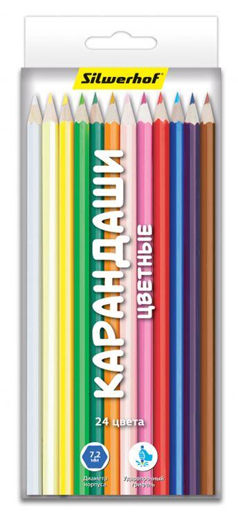 Карандаши цветные Silwerhof 134214-18 Народная коллекция шестигранные 18цв. коробка/европод. карандаши цветные silwerhof 134203 06 джинсовая коллекция трехгран 5мм 6цв jumbo коробка европод