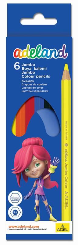 Карандаши цветные Adel ADELAND JUMBO, 6 цветов карандаши цветные silwerhof 134203 06 джинсовая коллекция трехгран 5мм 6цв jumbo коробка европод