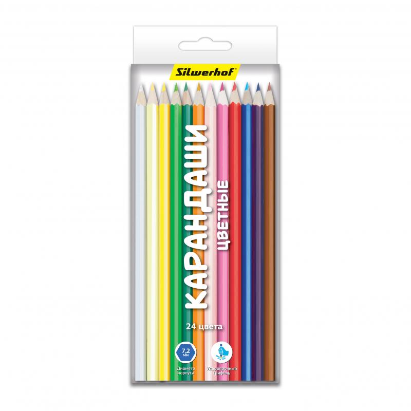 Набор цветных карандашей Silwerhof 134206-24 Народная коллекция, 24 шт ручки и карандаши silwerhof карандаши цветные silwerhof 24 цв