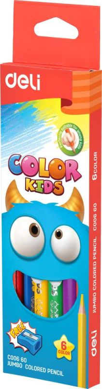 Набор цветных карандашей Deli EC00660 Color Kids, 1027186, 6 шт карандаши цветные silwerhof 134203 06 джинсовая коллекция трехгран 5мм 6цв jumbo коробка европод