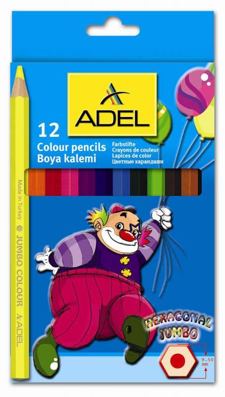 Набор цветных карандашей Adel JUMBO HEXA 211-9510-000, 12 шт