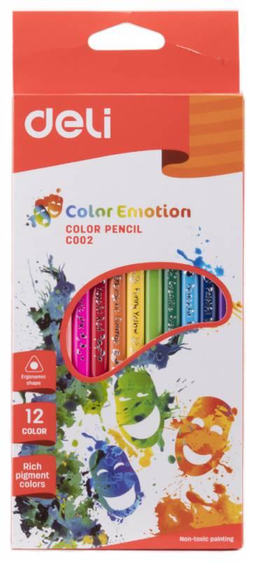 Карандаши цветные Deli Color Emotion EC00200 трехгранные липа 12цв. коробка/европод. карандаши artberry 12цв
