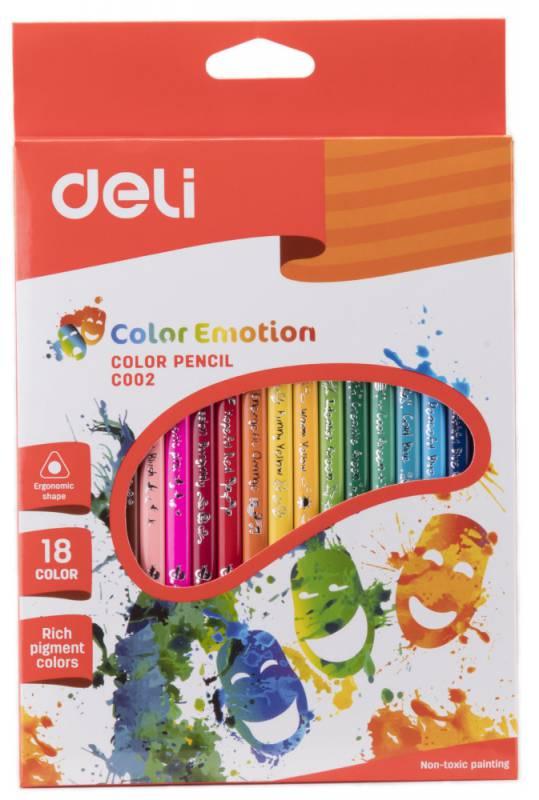 Карандаши цветные Deli Color Emotion, 18 цветов mattel карандаши цветные enchantimals 18 цветов