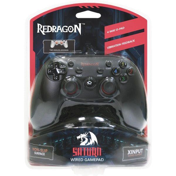 Геймпад Defender Redragon Saturn для PC/PlayStation 3 1079381, черный dvtech js45 shock steel геймпад для pc