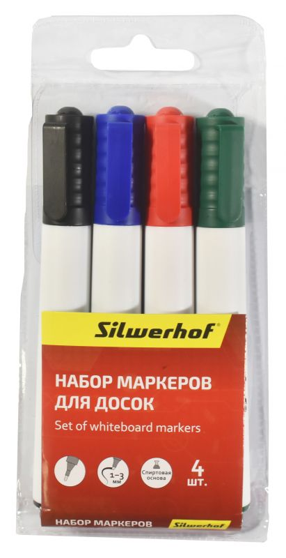 Набор маркеров для досок Silwerhof Prime, 4 цвета. 118005-00 набор маркеров для досок silwerhof prime 118005 00 1 3мм 4цв пакет с европодвесом 12 шт кор